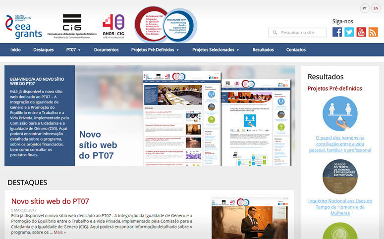 Novo sítio web do PT07